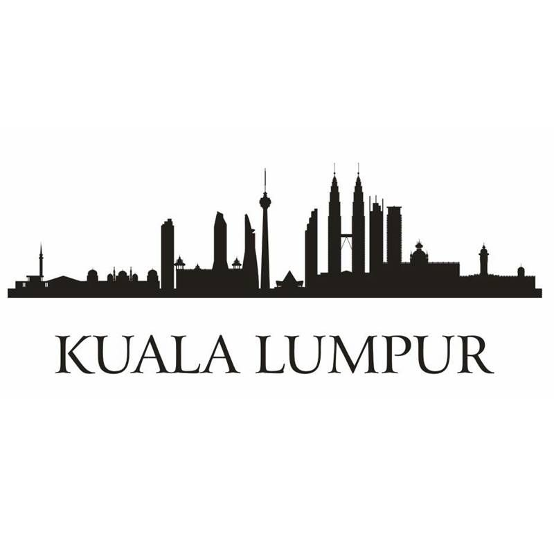 Kuala Lumpur City Decal Landmark Skyline Wall Stickers Sketch Decals Poster Parede Home Decor Sticker Wall Stickers Living Room Art Mural