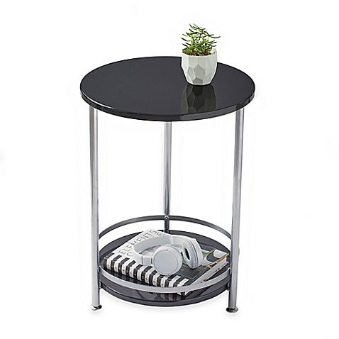 The Two Tier Round Side Table Offers Stylish Display And Storage Utility Petite Design With Small Footprint Makes Round Side Table Side Table Round Table Top