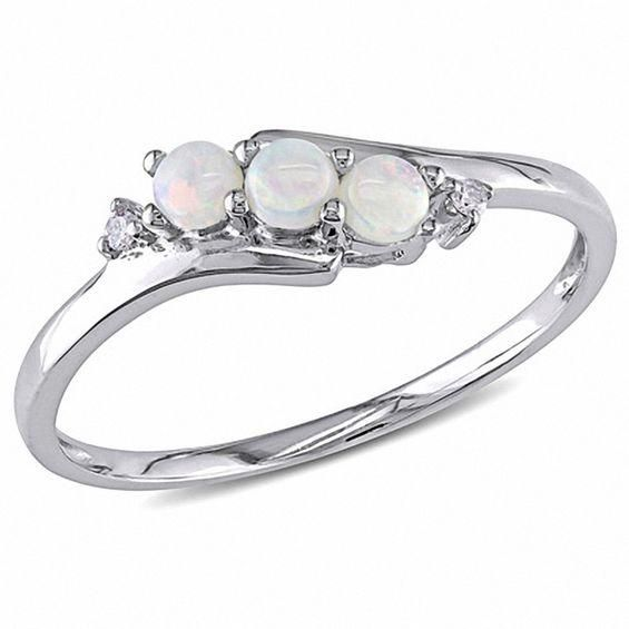 Zales Opal Three Stone Slant Ring in 10K White Gold with Diamond Accents goszMBy0