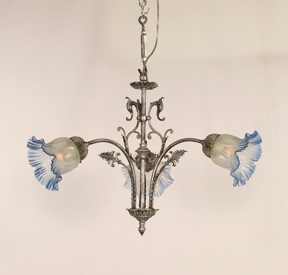 Antique 3 light french victorian chandelier w frosted to blue glass antique 3 light french victorian chandelier w frosted to blue glass shades france arubaitofo Choice Image