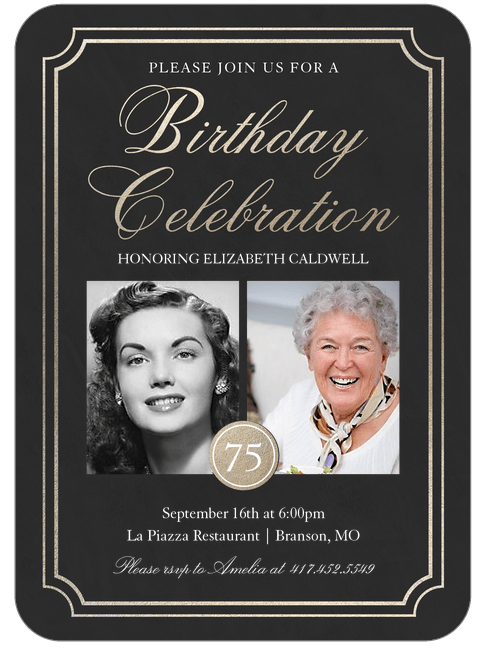 The best 75th birthday invitations and party invitation wording elegant birthday party invitations are perfect for a milestone birthday celebration 75th birthday invitations filmwisefo