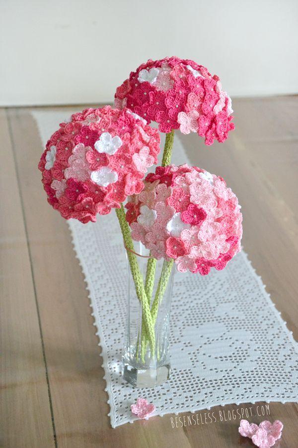 Crochet Hydrangea Flower with Free Pattern | Häkeln, Häkelblumen und ...