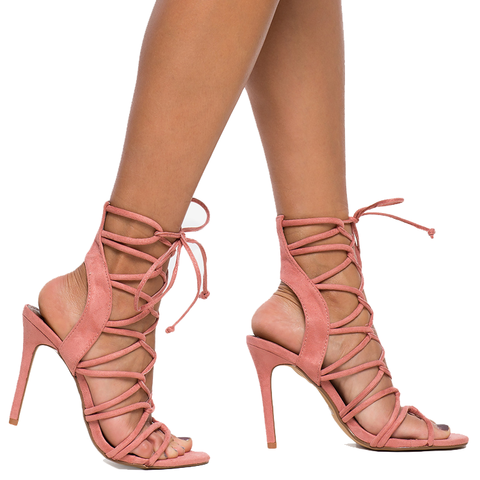 AMICA Lace Up Sandal in Blush at FLYJANE | Sexy Lace Up Sandal | Zara Blush
