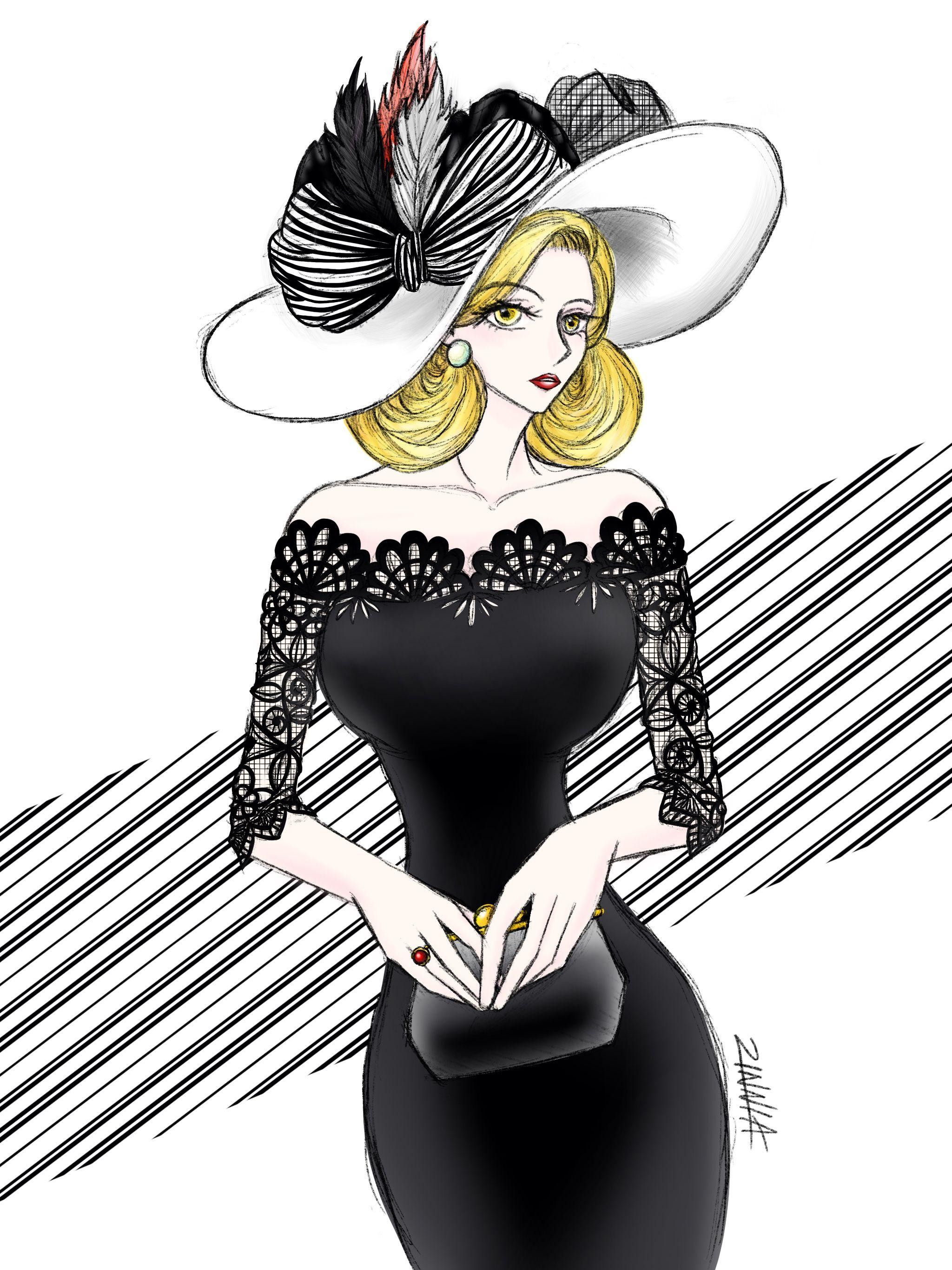Lady illustration using iPad Pro Procreate app. Watch