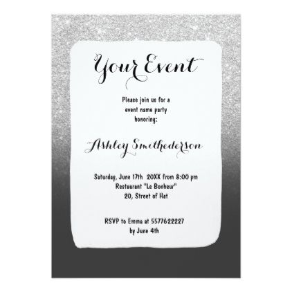 Modern faux silver glitter ombre grey black block card - faux gifts style sample design cyo
