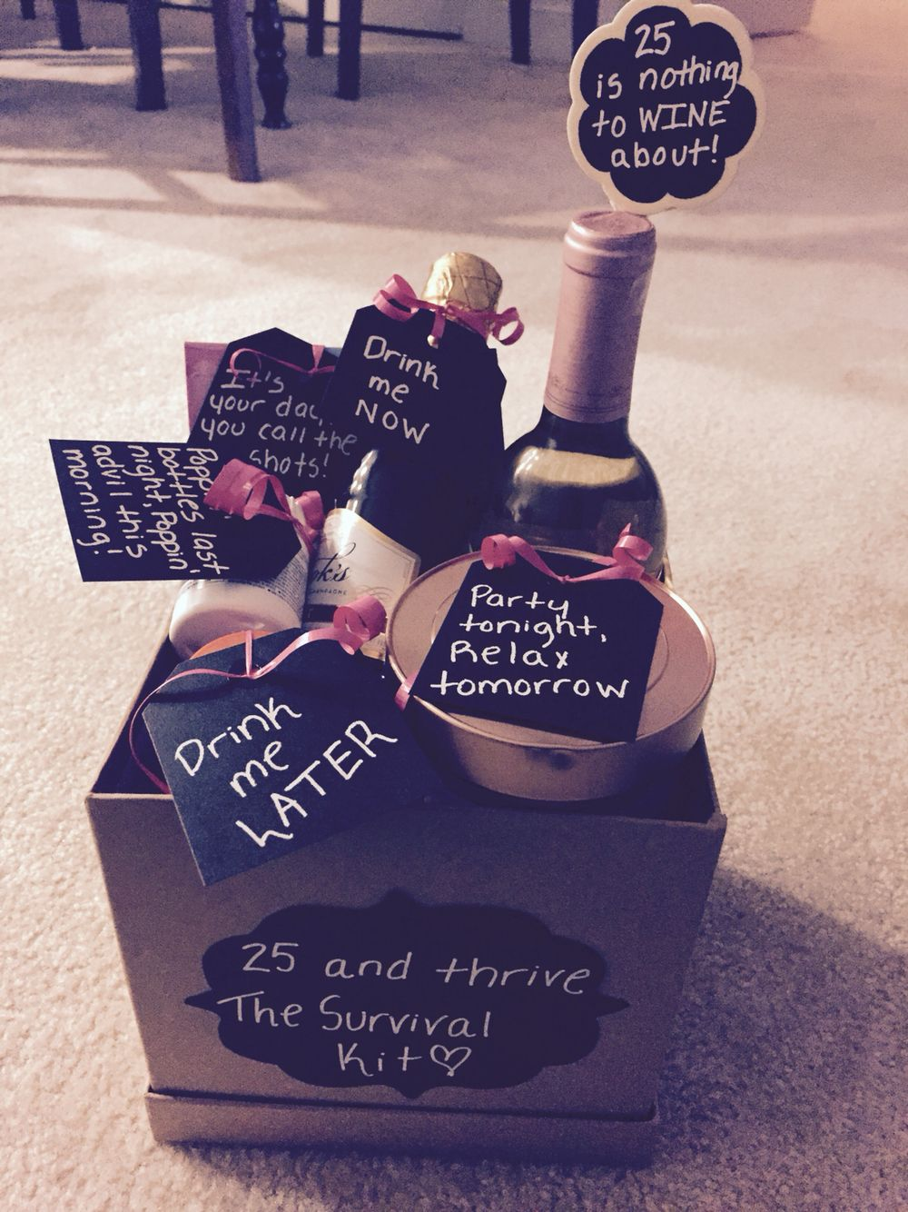 25th Birthday Gift Basket Bags Gift wrappin Pinterest 25th