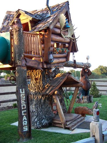 Wonderful crooked kids fort with unique log siding and fun ...