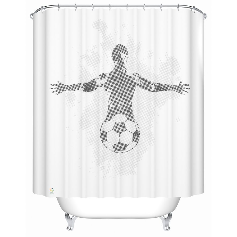 Football Player Shower Curtain Shower Curtain Curtains Shower