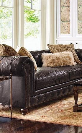 Barrow Chesterfield Leather Furniture Collection | Frontgate