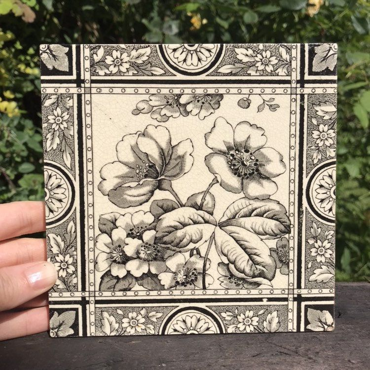 hand painted decorative tiles.htm victorian tile  black   white  in sepia tone   antique circa 1880  victorian tile  black   white  in sepia