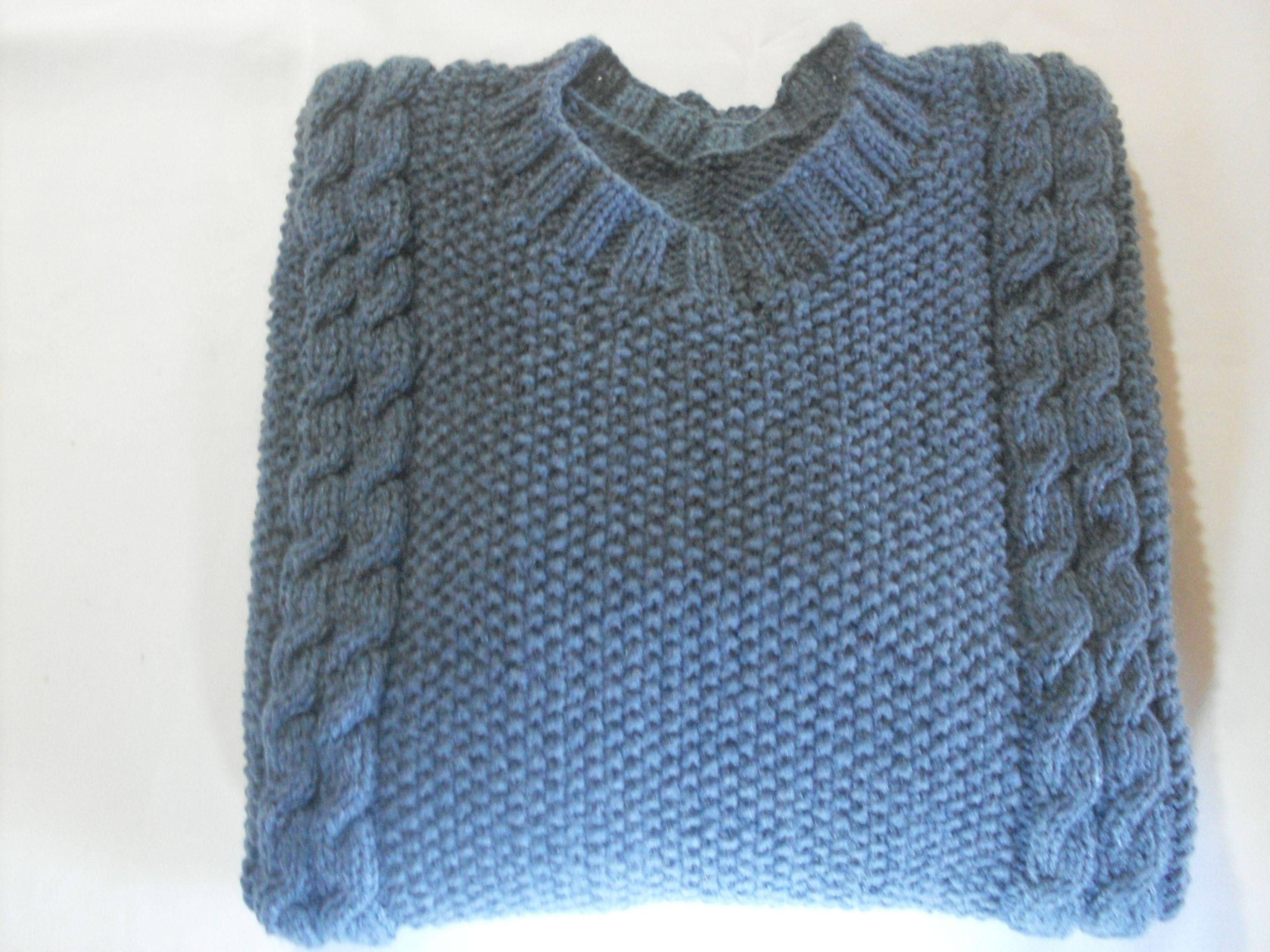 sweter hombre tejido a palillos(2 agujas), punto arroz y trenzas , y jersey