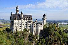 Neuschwanstein Castle (German: Schloss Neuschwanstein, pronounced [nɔʏˈʃvaːnʃtaɪn]) is a 19th-century Romanesque Revival palace on a rugged hill above the village of Hohenschwangau near Füssen in southwest Bavaria, Germany.