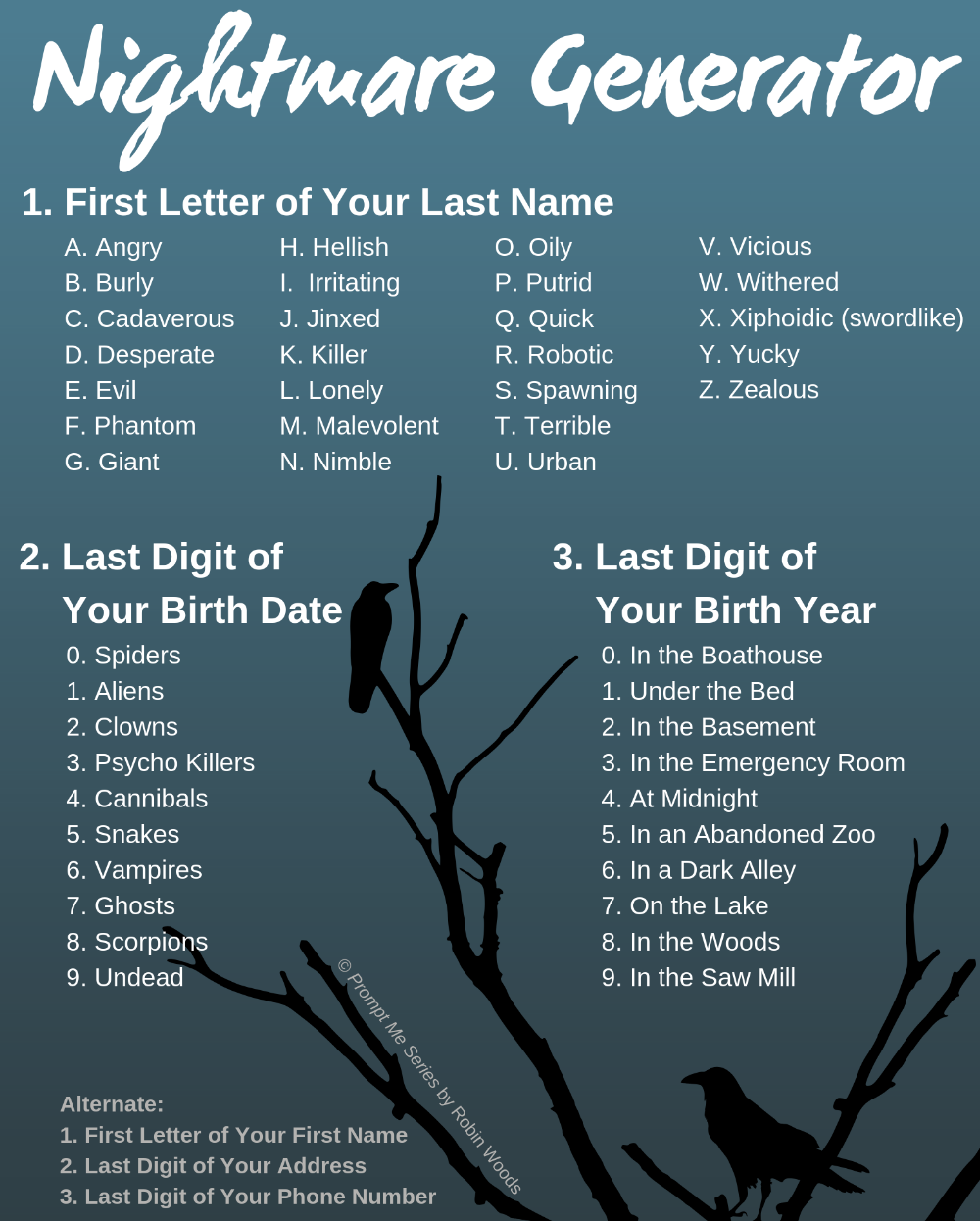Nightmare Generator From Prompt Me Horror Thriller Thriller Daily Writing Prompts Cool Writing