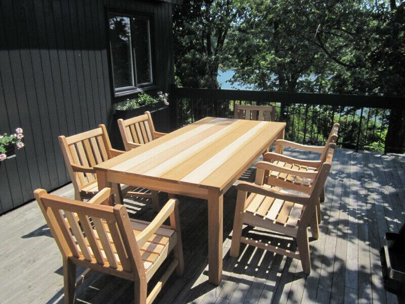 Meubles De Jardin Brossard Ensemble Set De Patio En Cedre Mobilier Pour Terrasse Et Jardin Lo In 2020 Outdoor Furniture Sets Outdoor Furniture Outdoor Tables