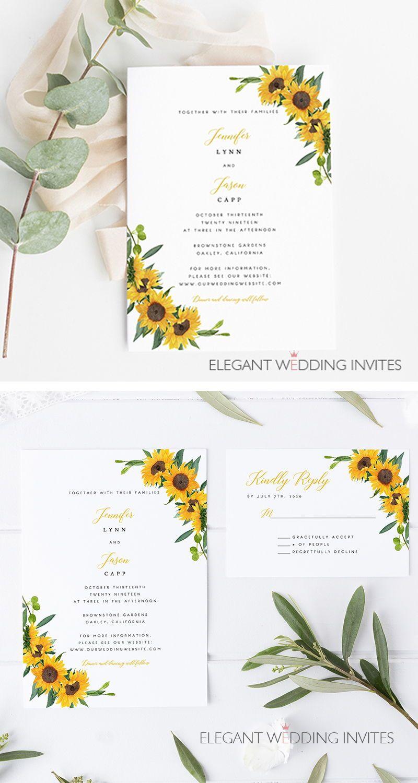 Sunflower Glory Cheap Sunflower Themed Wedding Invitation Cards Ewis003 Sunflower Themed Wedding Sunflower Wedding Decorations Sunflower Wedding Invitations