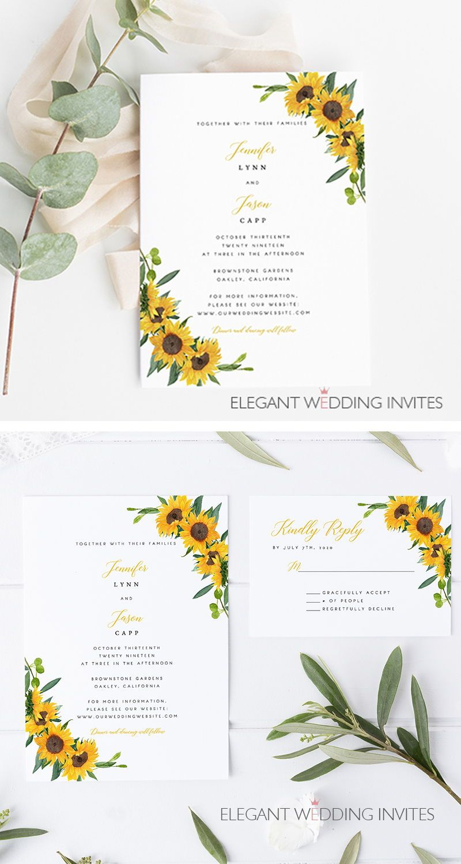 sunflower glorycheap sunflower themed wedding invitation