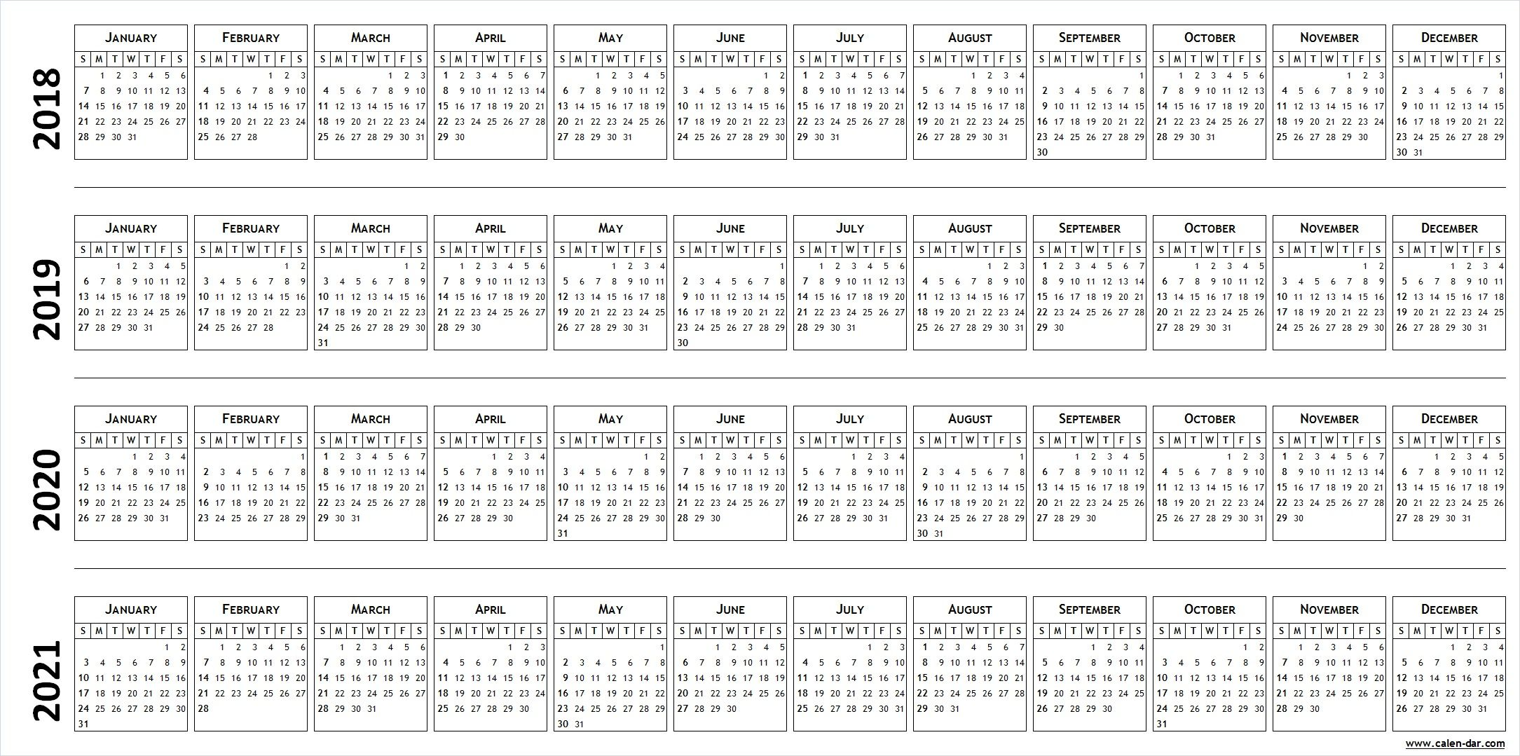 4 Four Year Blank Calendar 2018 2019 2020 2021 Calendar Template Marketing Calendar Template Excel Calendar Template