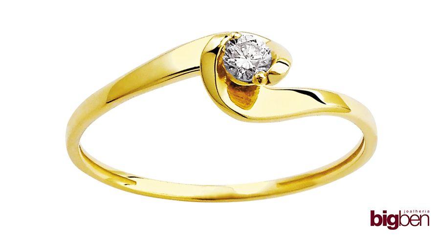 c9f12f7ea BIG BEN: Anel solitário em ouro 18k, com diamante 10 pontos. Ref. CFAC9878  R$ 1.233,00