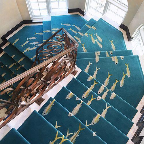 Best Fishes Custom Stair Runner Coastal Living Rooms Carpet Stairs Carpet Design 400 x 300