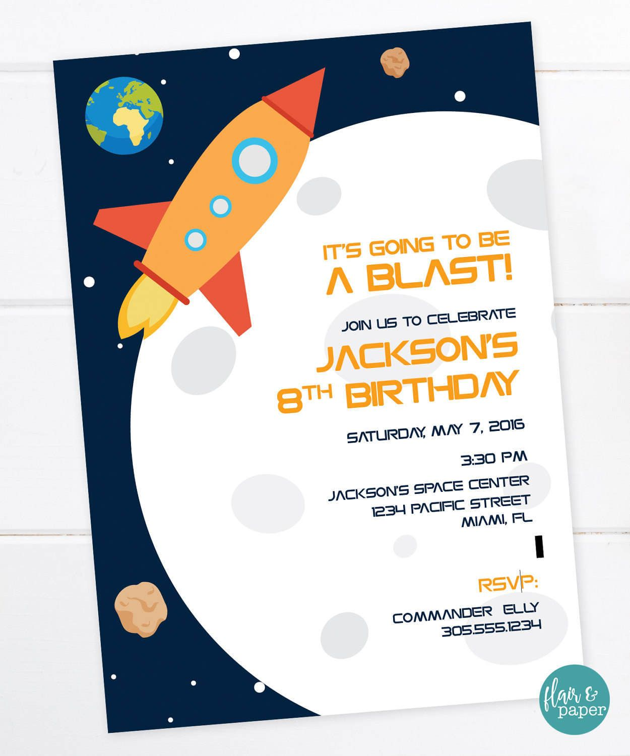 Outer Space Invitation, Space Birthday, Rocket Birthday, Space Party ...