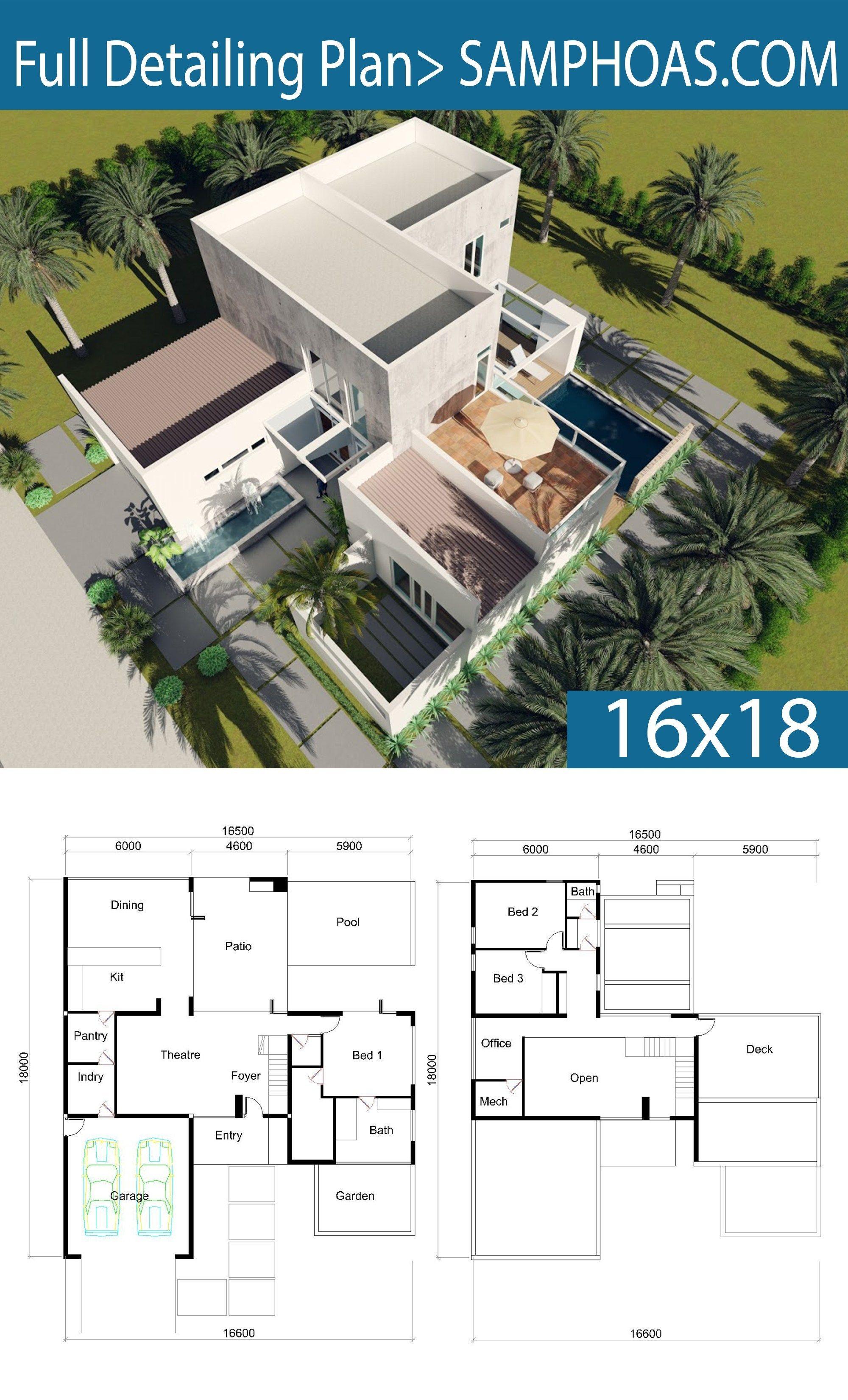 Villa De 3 Dormitorios Con Diseno 16x18m Samphoas Plan Villa Design Master Bedroom Interior Design How To Plan