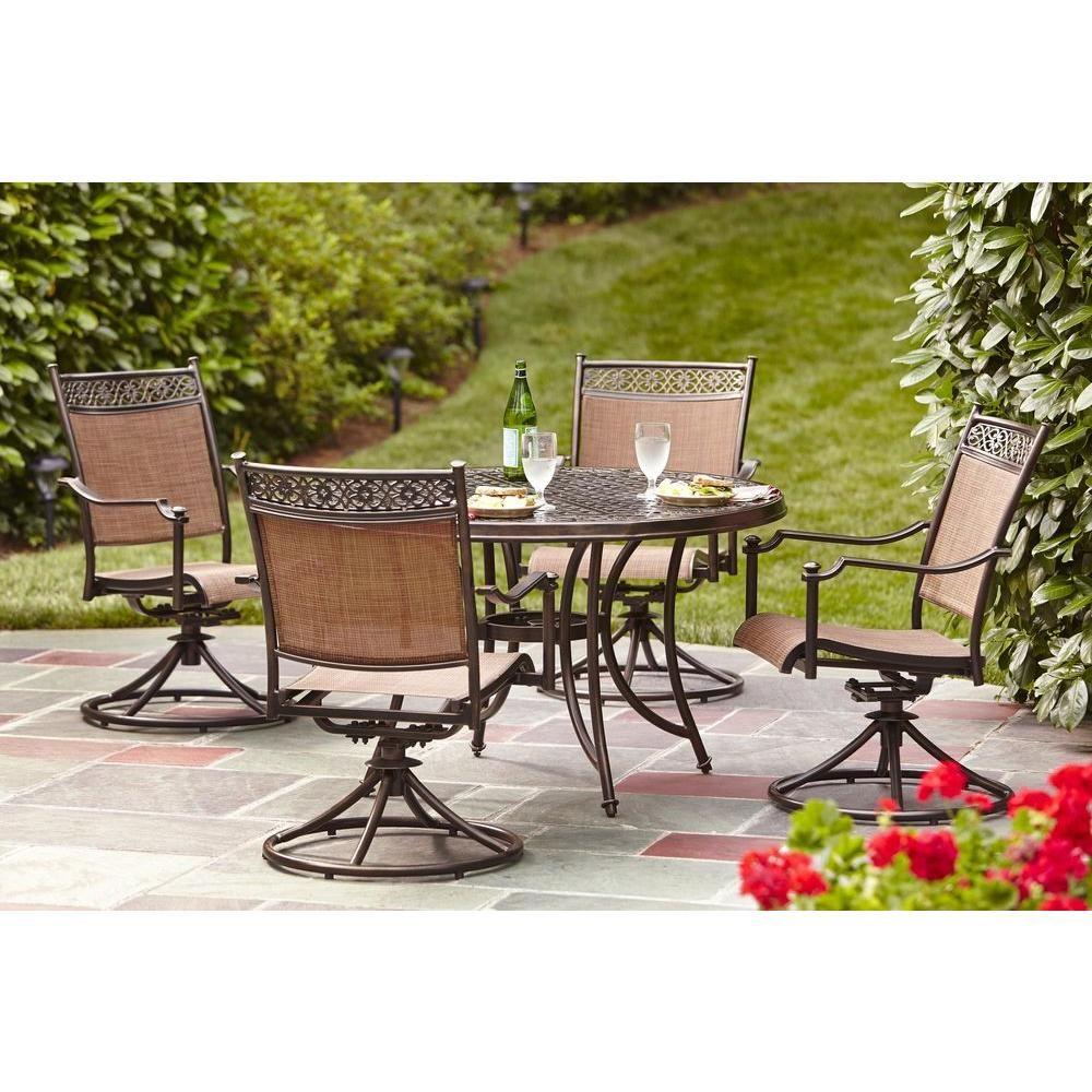 Hampton bay niles park piece sling patio dining set my maison
