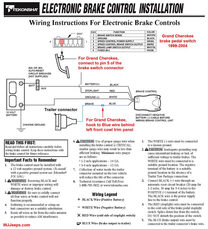 Trailer Brake Controller Wiring >> Electric Brake Controller Wiring Diagram Tekonsha Prodigy P3