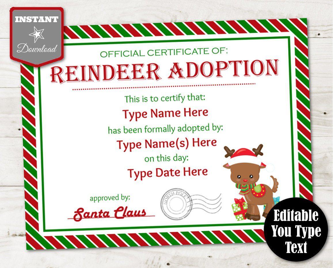 INSTANT DOWNLOAD Editable Reindeer Adoption Certificate ...