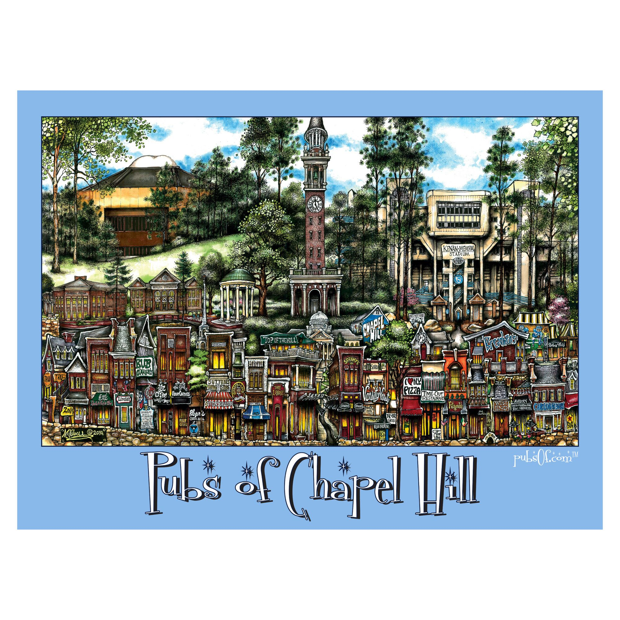 'Chapel Hill, NC' by Brian McKelvey Poster Painting Print