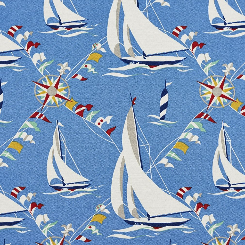 Discount outdoor fabric by the yard - Blue Red Green And Yellow Sailboats Outdoor Upholstery Fabric By The Yard 1