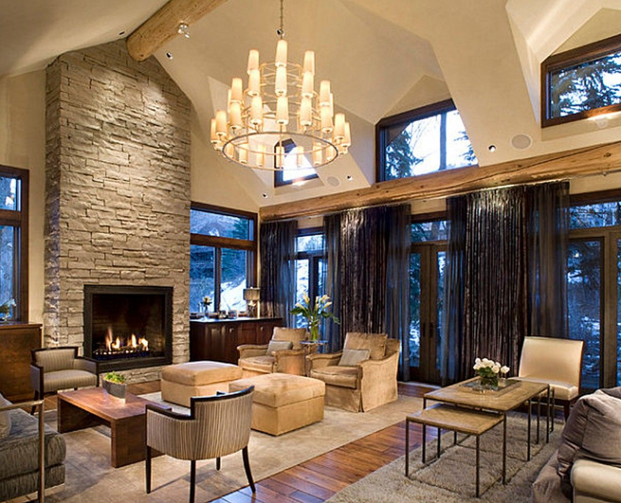 Window ideas for family room  exquisite family room design with stone around fireplace and unique