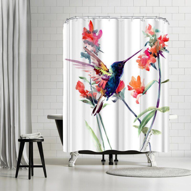 East Urban Home Suren Nersisyan Hummingbird Suren 2 Single Shower Curtain Wayfair In 2020 Ocean Shower Curtain Shower Hookless Shower Curtain