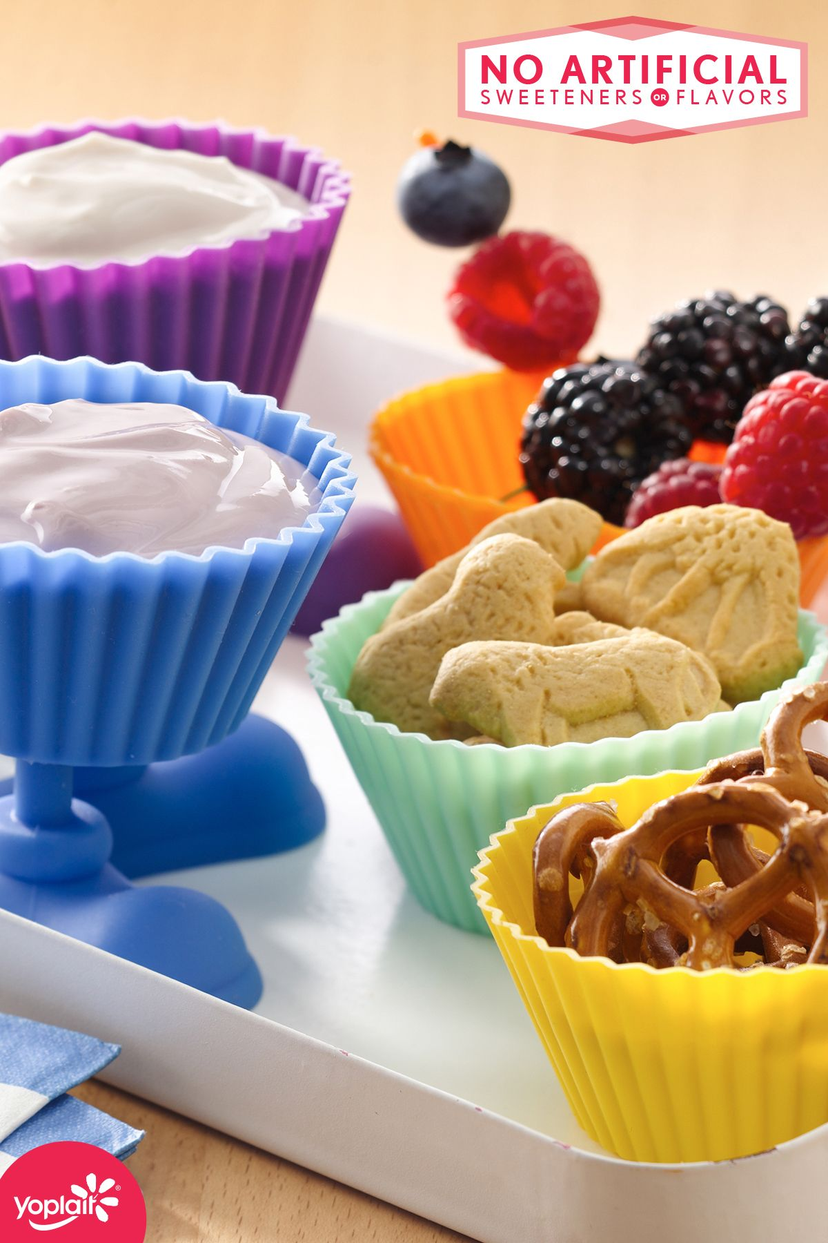 Snack time! Dig into mini portions of Yoplait Original