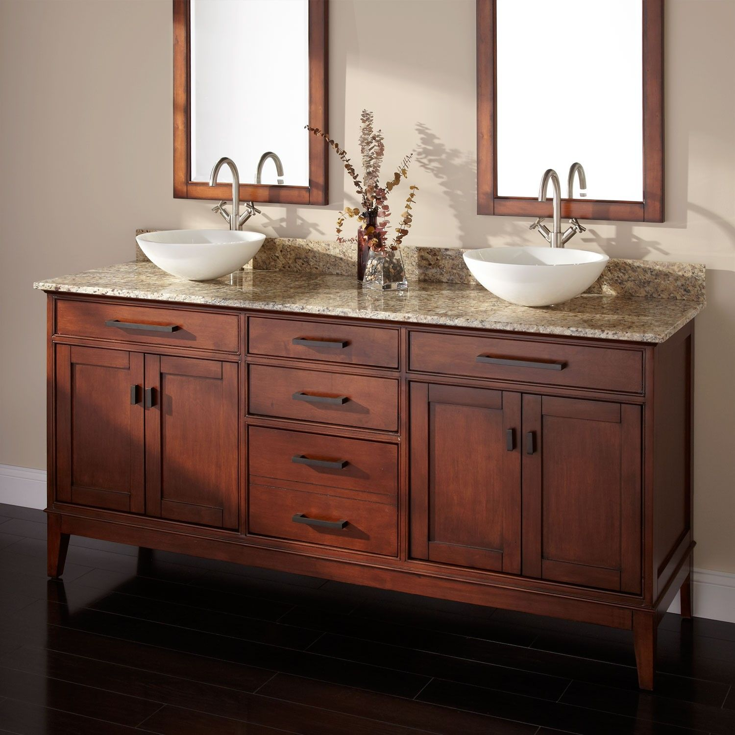 72 Tobacco Madison Double Vessel Sink Vanity Double Sink