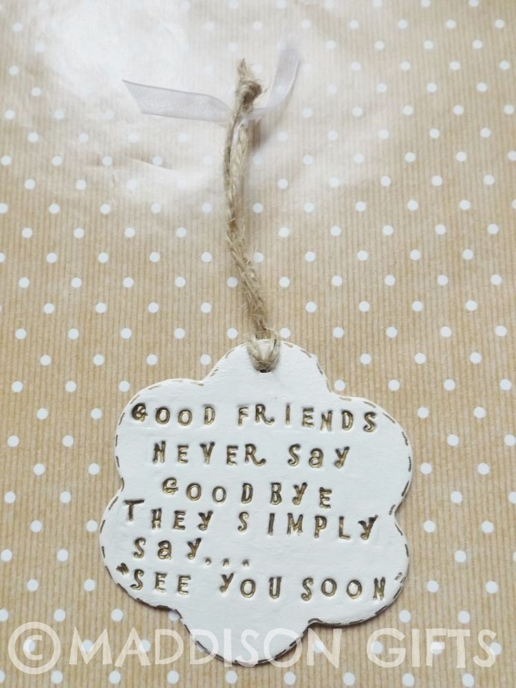 Friends Farewell Hanging Gift Card Alternative Home Decor Leaving