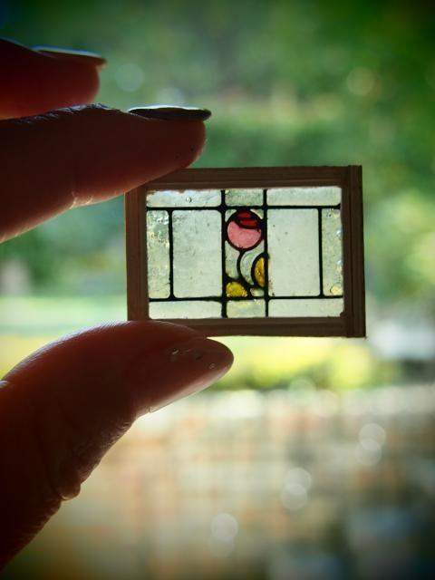 Miniature Stained Glass Window Dollhouse Miniatures