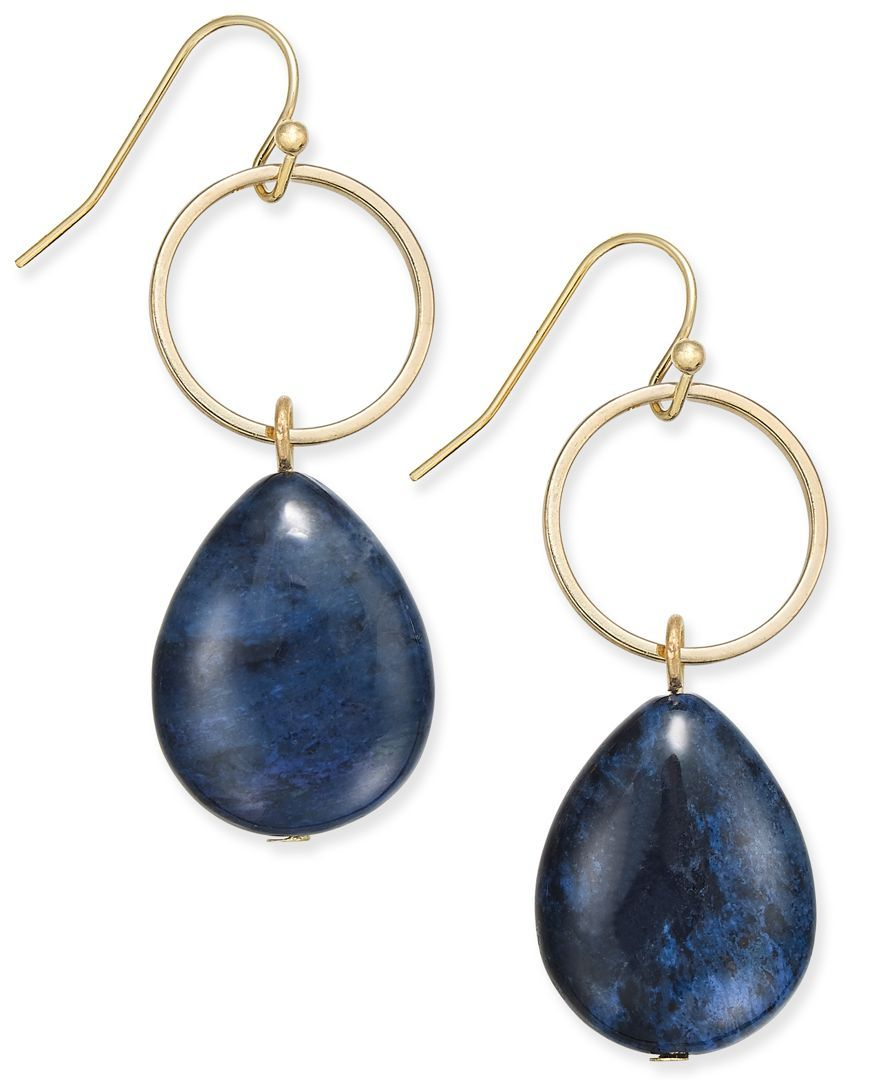 Inc International Concepts Gold-Tone Blue Stone Hoop Drop Earrings, Only at Macy's