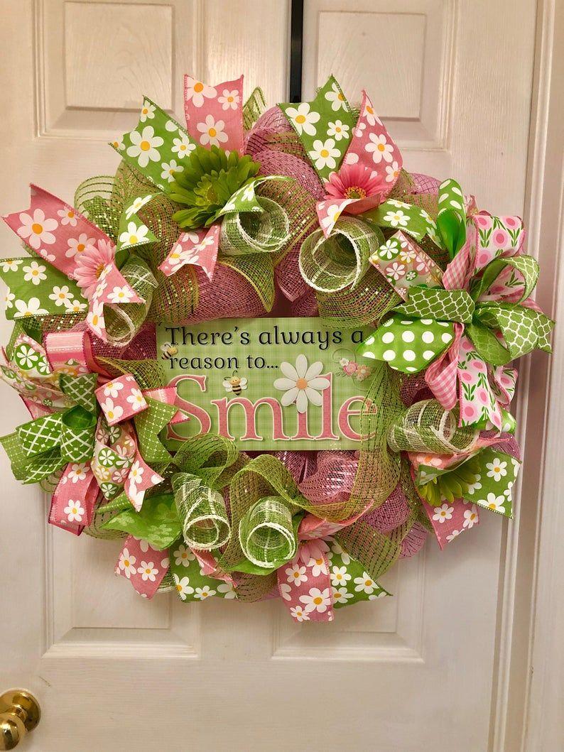 spring wreath, summer wreath, deco mesh wreath, front door wreath, door wreath, canada, home decor, home, housewarming gift, family gift