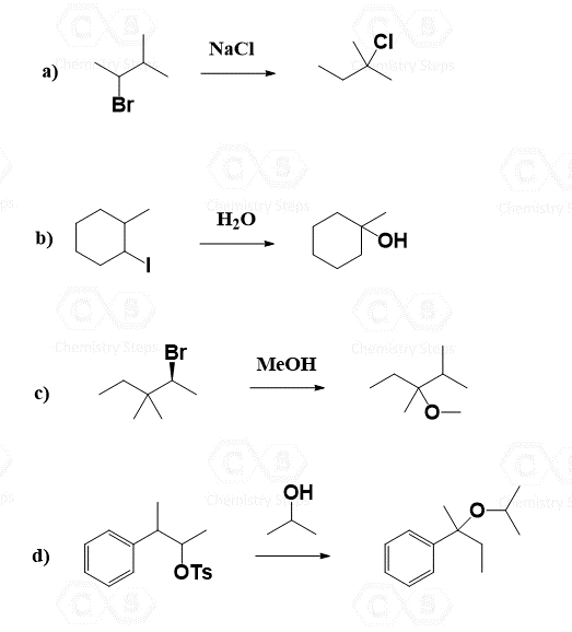 Carbocation Rearrangements in SN1 Reactions with Practice