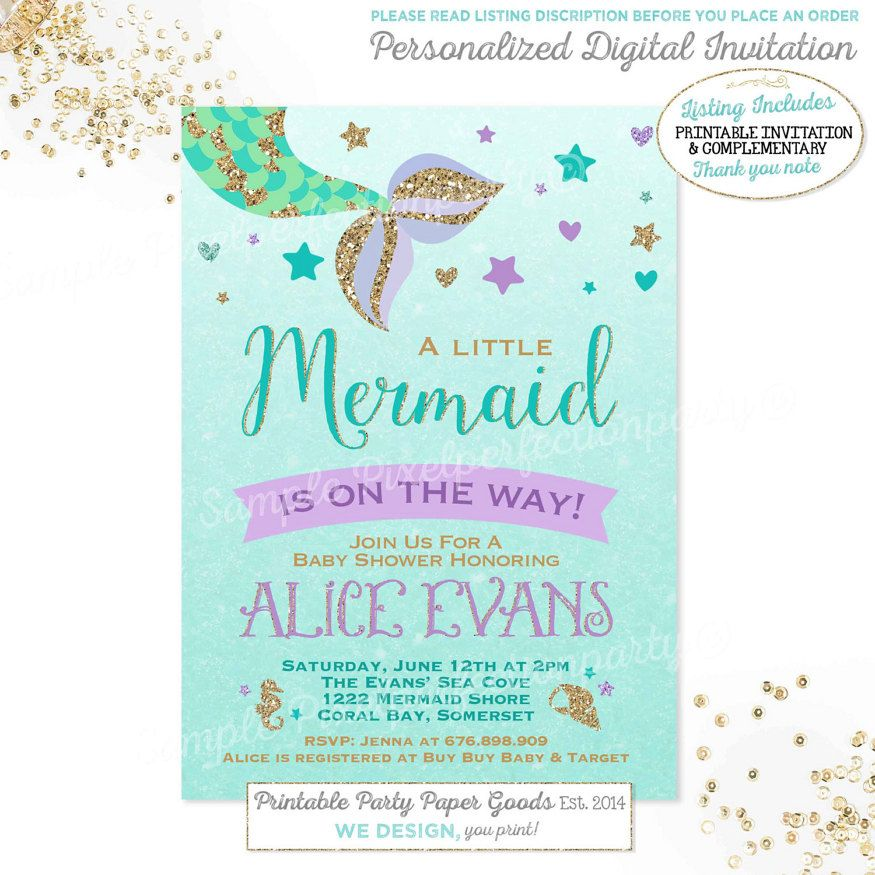 Mermaid Baby Shower ideas, Mermaid themed baby shower decorations - download free baby shower invitations