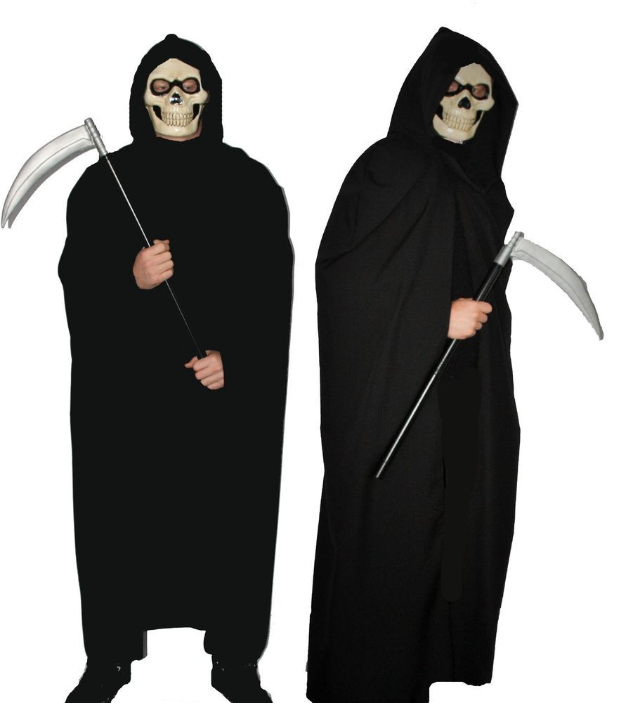 Details about Long Grim Reaper Cape With/Without Mask & Scythe ...