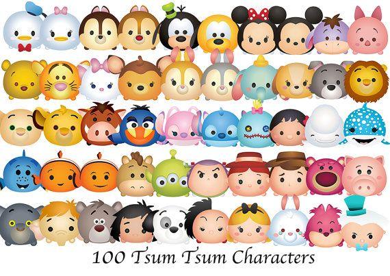 Disney Tsum Tsum Clipart 9: TSUM TSUM Characters. 100 High Resolution Digital Clipart