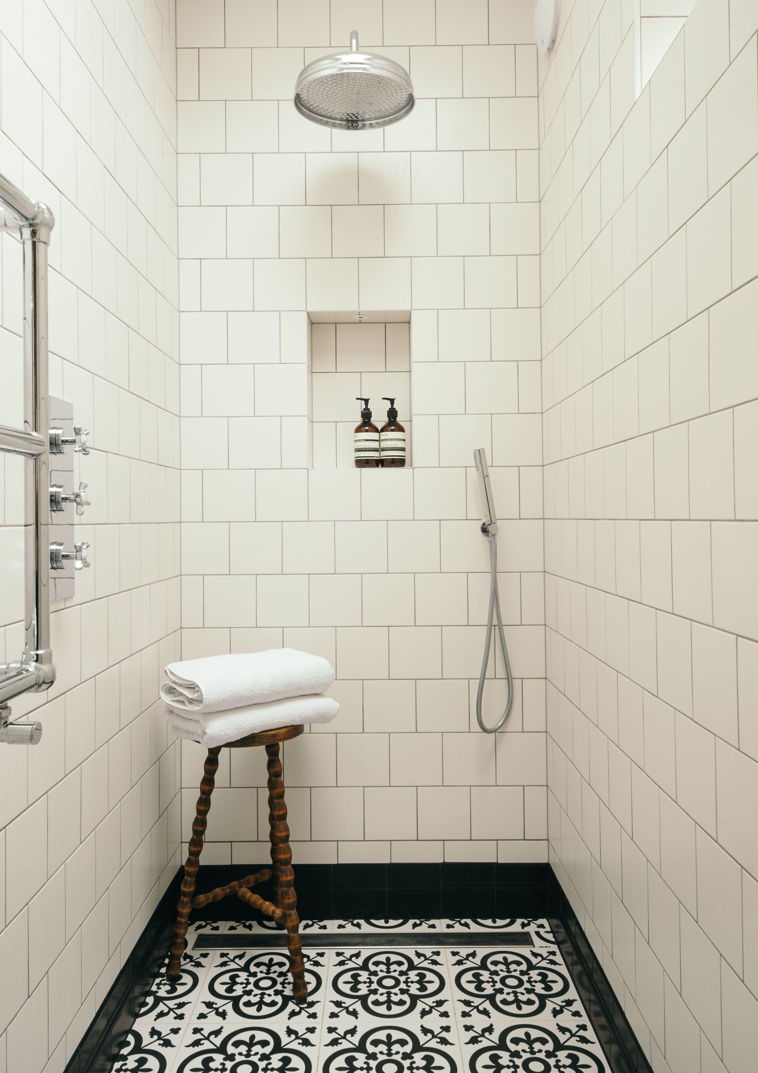 Simple Monochrome Walk In Shower Design Fired Earth Tiles Bobble Stool Talia Cobbold Interior Design Shower Tile Tile Bathroom Interior