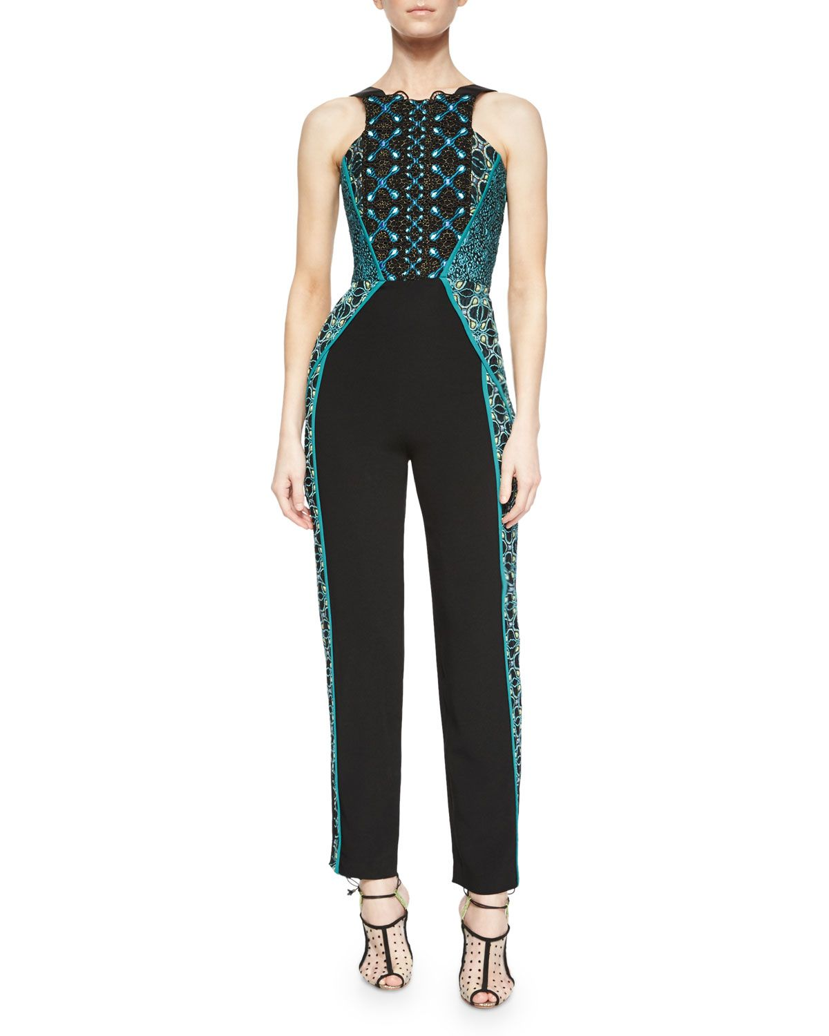1dfb9cfd8a5b Embroidered Lace Sleeveless Jumpsuit
