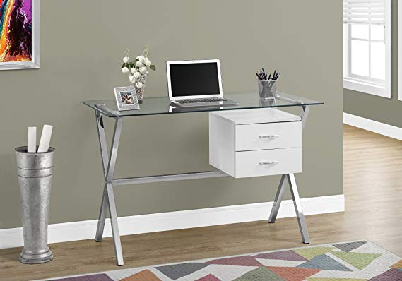 Amazon Com Monarch Specialties I I 7215 Computer Desk 48 L Glossy Tempered Glass White Gateway In 2020 Glass Desk Glass Top Desk Home Office Furniture