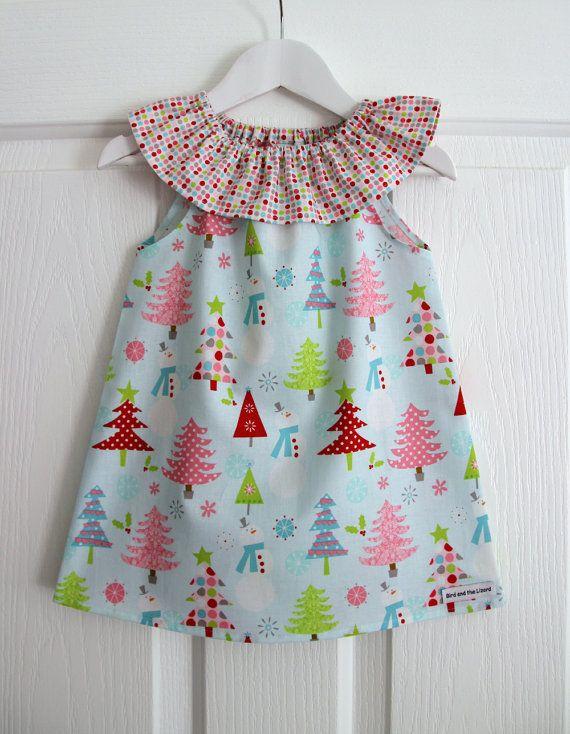 Christmas Ruffle Neck Dress Baby Girls by BirdandtheLizard on Etsy