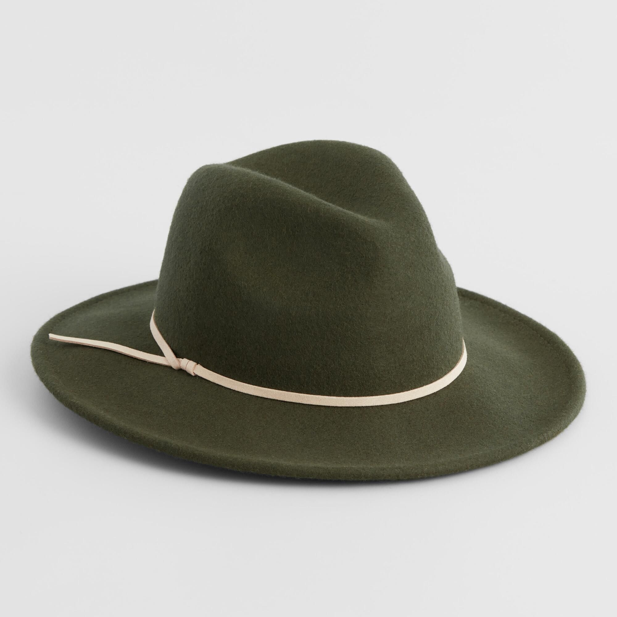 07908437d158 Olive Green And Tan Trim Wool Rancher Hat by World Market in 2019 ...