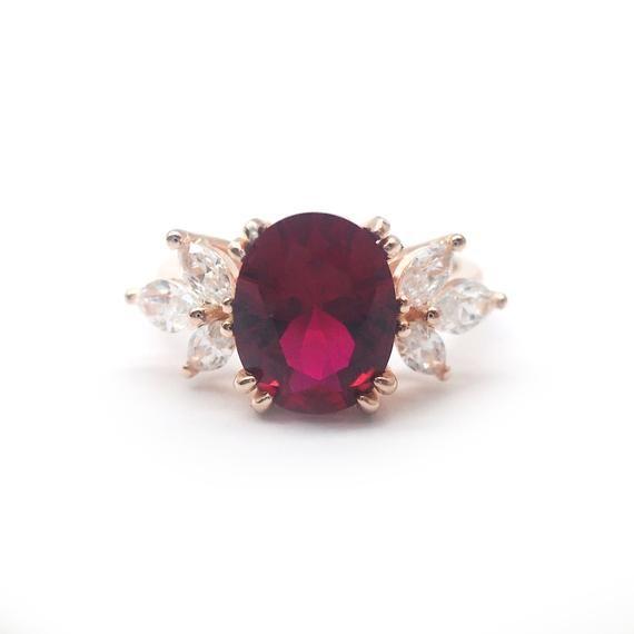 Rose gold ruby engagement ring/solid gold lab ruby wedding ring /vintage red gemstone ring /ruby bir
