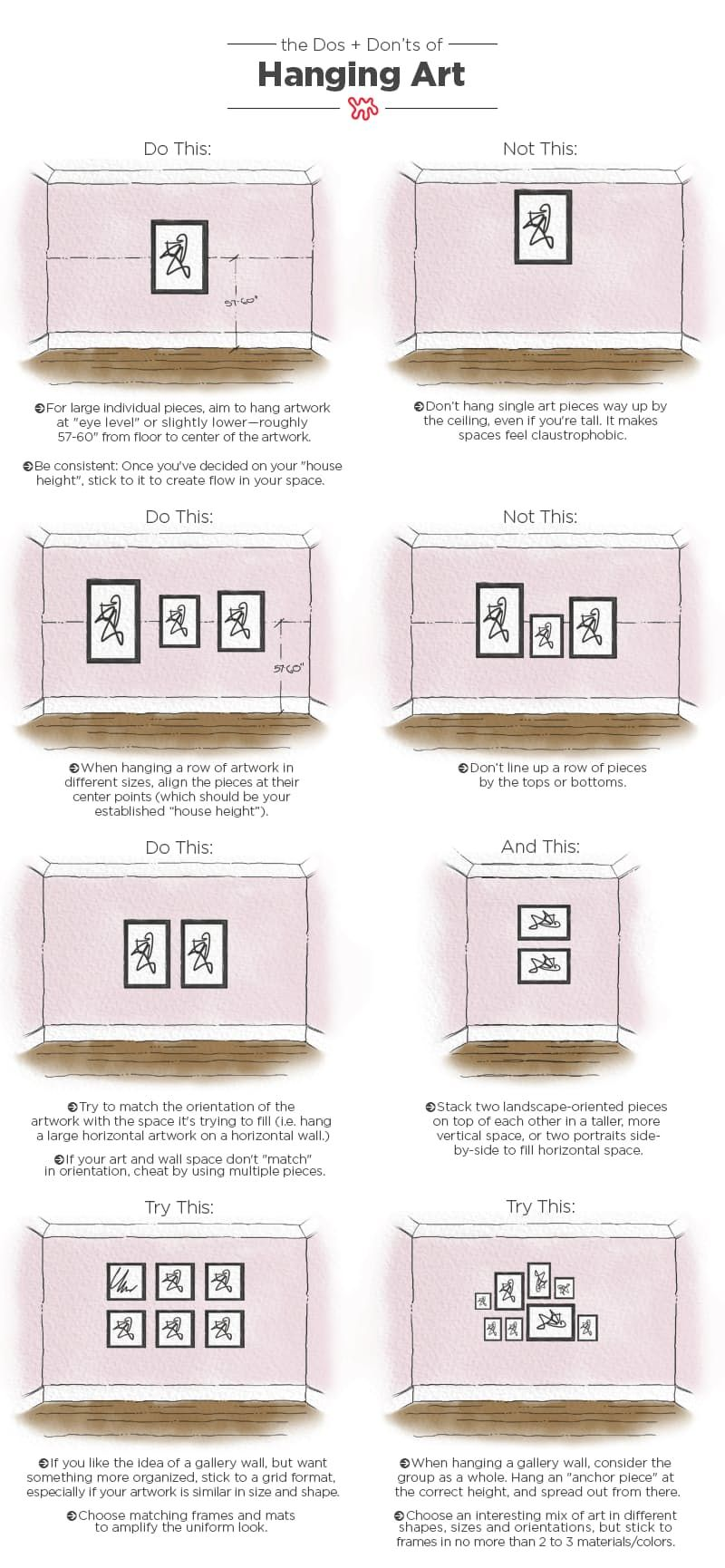 The Dos Don Ts Of Hanging Art An Illustrated Guide Hanging