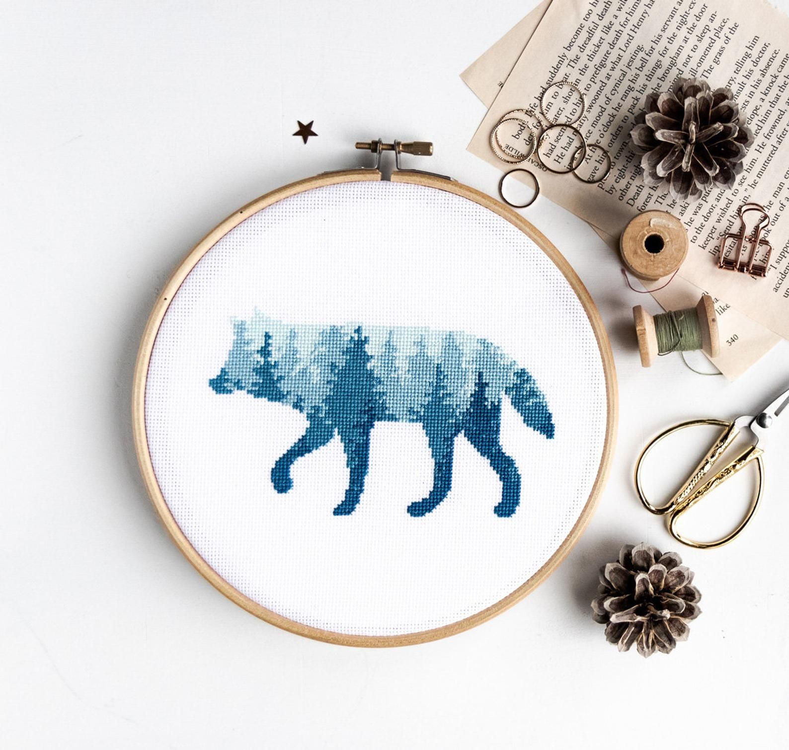 foxes cross stitch embroidery kit beginner hand embroidery kit Animal embroidery kit modern hand embroidery materials included gift